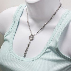 925 Silver Ball Chain Dangle Oval Pendant Necklace